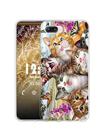 Sunrive Kompatibel mit Huawei nova 2 Plus Hülle Silikon, Transparent Handyhülle Schutzhülle Etui Hülle (Q Katze 5)+Gratis Universal Eingabestift MEHRWEG
