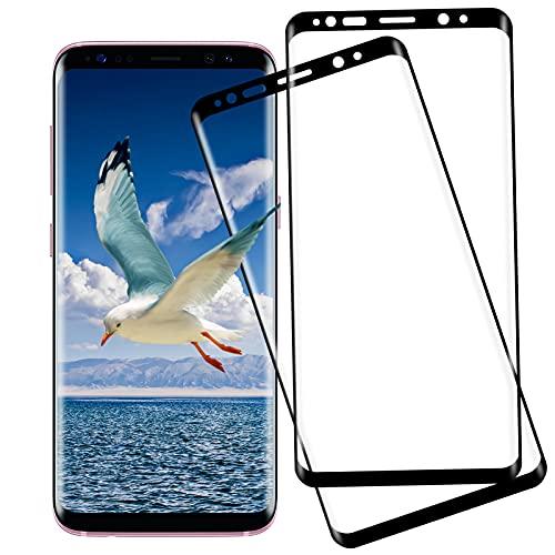 [2 Stück] Panzerglas Schutzfolie für Samsung Galaxy S8, HD-Schutzfolie, [3D Voller Bildschutzfolie] 9H Härte, Anti-Bläschen, Displayschutzfolie für Samsung Galaxy S8 - Schwarz