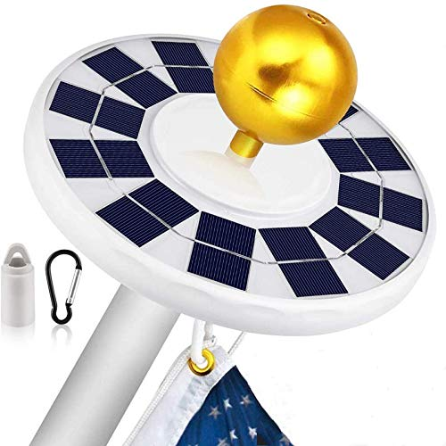 LUXJUMPER Solarbetriebenes Fahnenmastlicht, 128 LEDs Solar Flagpole Light/Solar Fahnenmast/Fahnenstange Licht/Wasserdicht Strahler für die Meisten 15-25ft Flag Pole für Nacht Beleuchtung