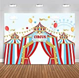 Fanghui 7x5ft Red Circus Photography Backdrop Carnival Carousel Big Top Tent First 1st Background Baby Shower Kids Birthday Party Banner Supplies Dessert Candy Cake Table Background Photobooth Props