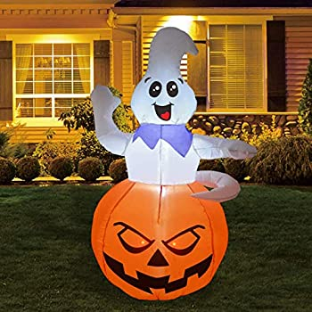 GOOSH 5FT Inflatable Halloween Ghost Sitting ON The Pumpkin (69107)