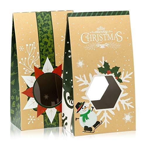 Bolsas de galletas para regalar – Juego de 12 cajas de dulces de Navidad – Bolsas de comida para regalos – 2 bolsas de dulces decorativas únicas – Contenedores de galletas fáciles de montar – Embalaje de cajas de caramelos premium