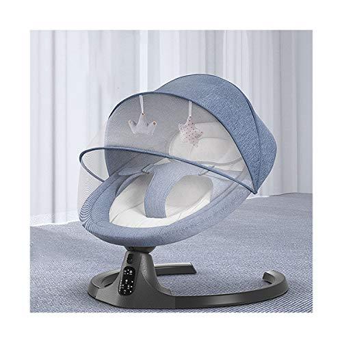 MOZX Hamaca Bebé Electrica, Balancín De Doble Movimiento para Bebé con Mando A Distancia Y Función Bluetooth, Bebés Recién Nacidos De 0 A 18 Meses,Azul