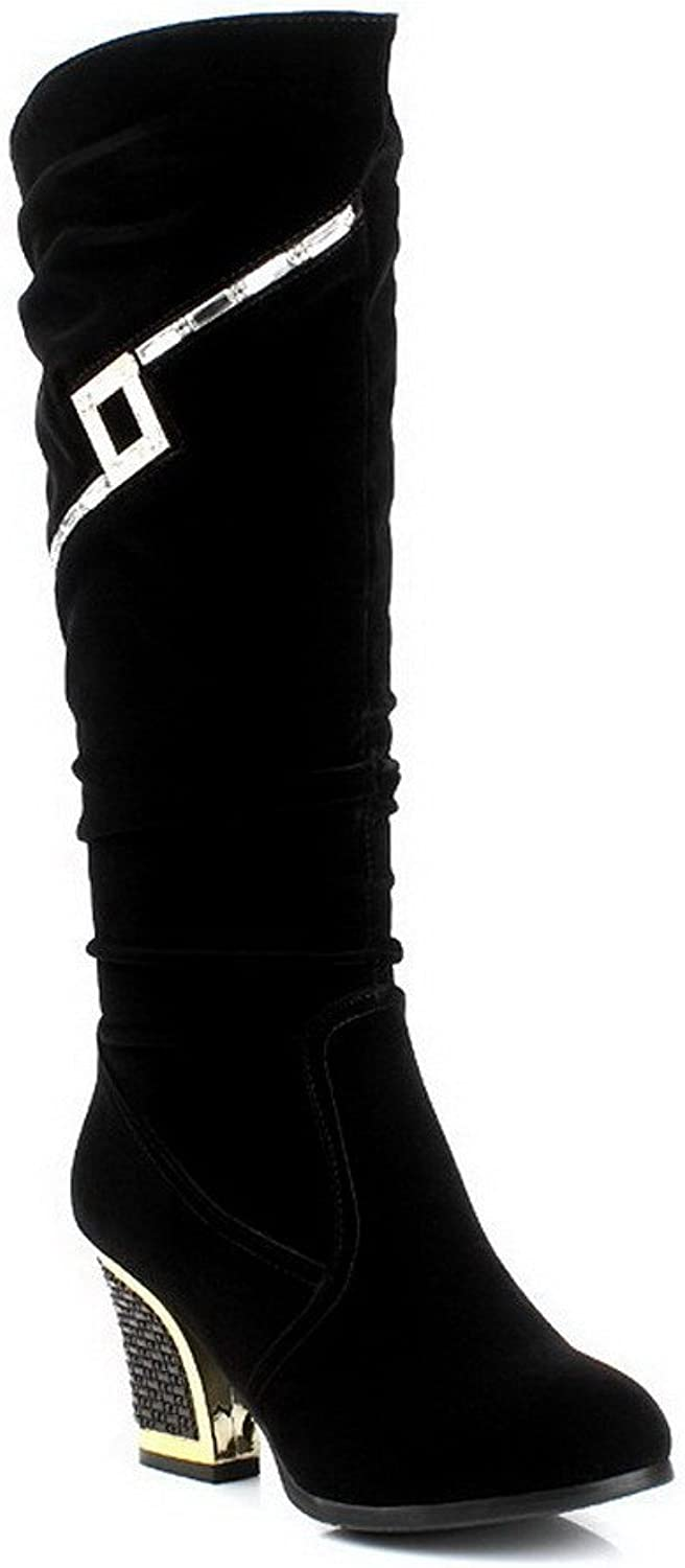 AmoonyFashion Women's Mid-Top High-Heels Pull-On Imitated Suede Solid Boots, Black-Glass Diamond, 36