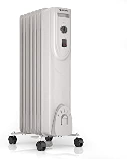 COSTWAY Oil Filled Heater, 1500W Portable Radiator Space Heater with Adjustable Thermostat, Overheat & Tip-Over Protection, Quiet Full Room Heater for Bedroom & Office, White (25