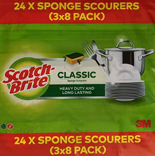 Scotch-Brite Classic Schwamm Topfreiniger, strapazierfähig und langlebig, 3er-Pack (24 Stück)