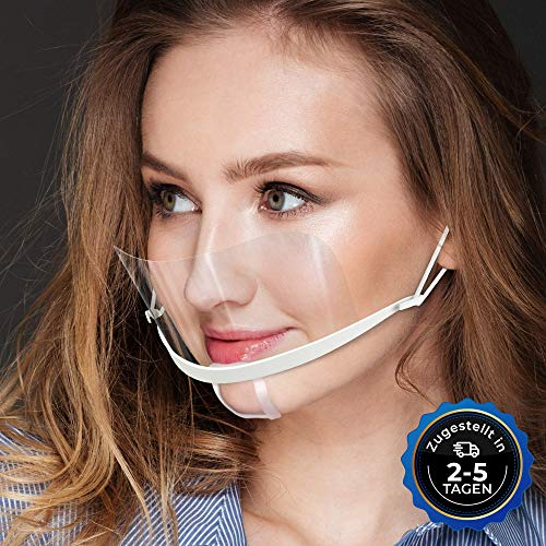 10x Gesichtsschild Face Shield Mini Schutzvisier Mundschutz Schutzschild klein transparent Mund Nasen Schutz Gesichtsvisier DIWA