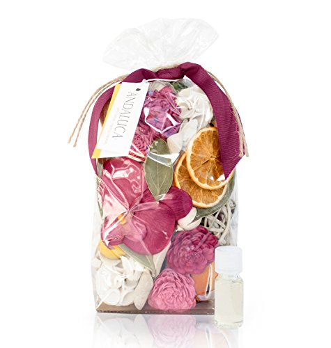 ANDALUCA Forbidden Flower Oasis Scented Potpourri | Made in California | Large 20 oz Bag + Fragrance Vial | Scents of Italian Bergamot, Plum, Jasmine, Rose and Lilac
