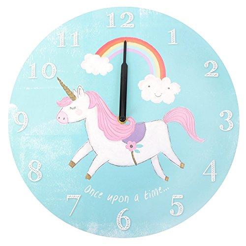 Something Different Reloj Redondo de Unicornio, MDF, Azul, 33,8 x 1 x 33,8 cm