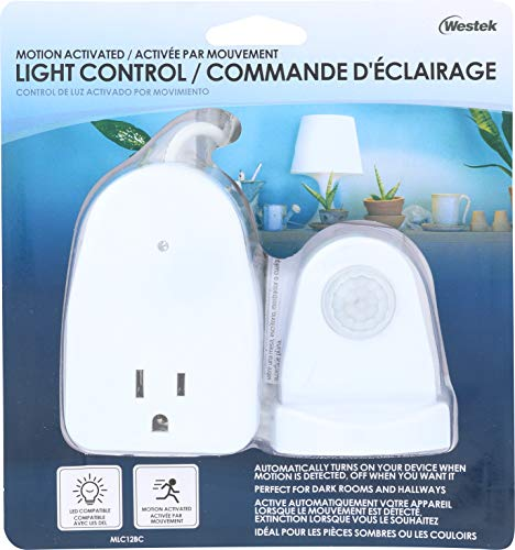 Westek MLC12BC-4 Indoor Plug-in Corded Motion Activated Light Control, Single, White