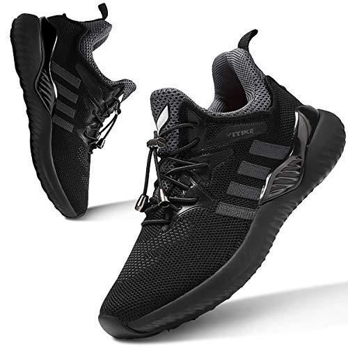 WETIKE Jungen Sneaker Sportschuhe Hallenschuhe Kinder Mesh Atmungsaktiv Laufschuhe (31EU-39EU) für Unisex-Kinder schwarz 34