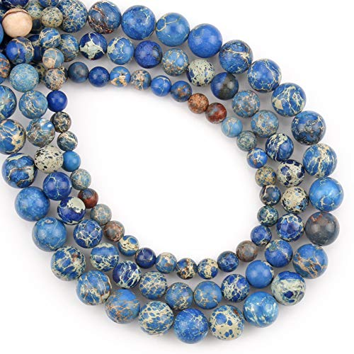 Blue Sea Sediment Jasper Beads for Jewelry Making Natural Round Loose Beads Crystal Energy Stone Healing Power 6mm, 1 Strand 15 Inch (60-63 pcs)