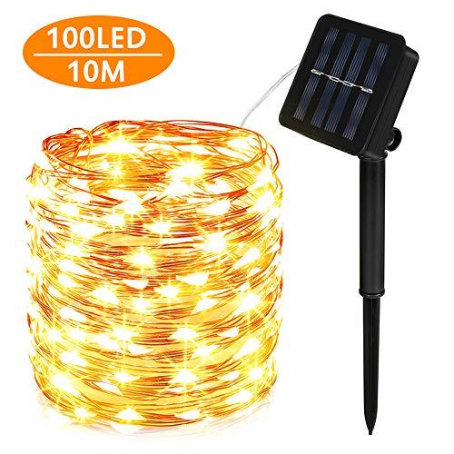 Solar Lichterkette Außen, 100 LED Lichterkette Mit 10M Kupferdraht 8 Modi Warmweiß Dekorative Lichterkette Wasserfest String Beleuchtung Ambiente für Garten, Schlafzimmer, Hochzeit