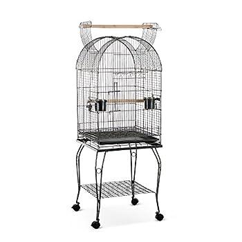 IKAYAA Cage pour Oiseaux Volière avec roulettes en Fer avec Bois pour Perroquet 53 * 53 * 139cm