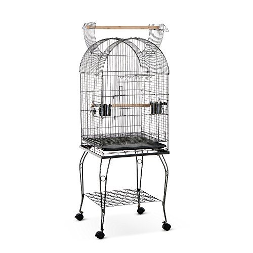 IKayaa Wrounght Iron Bird Pappagallo Gabbia Giocare Top Macaw Cockatoo Parakeet Conure Finch Cage + in Acciaio Inox Bowl & Lockable Wheels