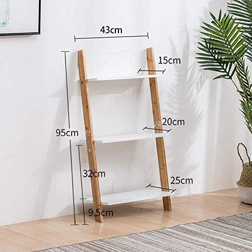 YLCJ Bücherregal Wandleiter Regal 3/5 Tier Bambus Lehneinheit Rack Bücherregal Display Halter Ständer (Größe: 43 * 95 cm)