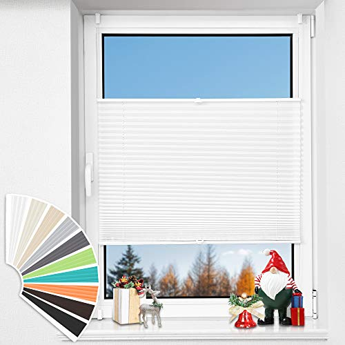 HOMEDEMO Plissee Klemmfix ohne Bohren Jalousien (Weiß, 105x130cm) Plisseerollo Fensterrollo mit Klemmträger, Faltrollo Klemmrollo Sicht-und Sonnenschutz Rollos für Fenster & Tür