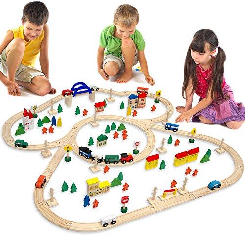 EYEPOWER 12075 - Stazione ferroviaria, in Legno, 130 Pezzi Oltre 5 m di rotaie, Compatibile con Prodotti Brio, Eichhorn, Ikea, Thomas ECC