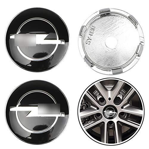 Wlkjhty Juego de 4 Tapacubos para Opel OPC Corsa Mokka Antara Astra Insignia Meriva Zafira, 60mm/2.36' Tapas de Rueda de Repuesto, Tapas Centrales para Llantas, Hub Cap Cover Tapas Centrales