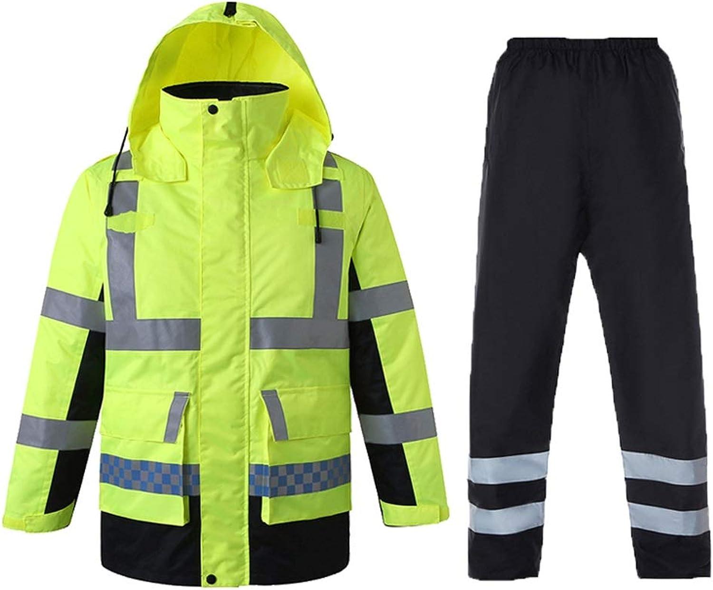 Reflective Clothing Winter Thick Reflective Cotton Jacket Traffic Safety Cotton Suit Fluorescent Jacket Male Safety Vest (Size   L)