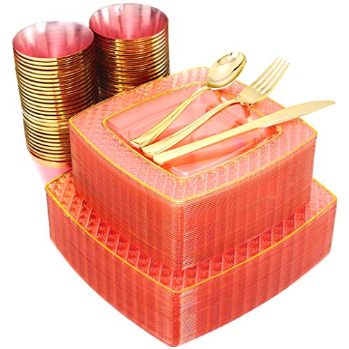 Nervure 150PCS Pink with Gold Sqaure Plastic Plates & Gold Silverware Set:25 Dinner Plates 9.5', 25 Dessert Plates 7.6', 25 Cups 9 Oz, 25 Forks, 25 Knives, 25 Spoons.