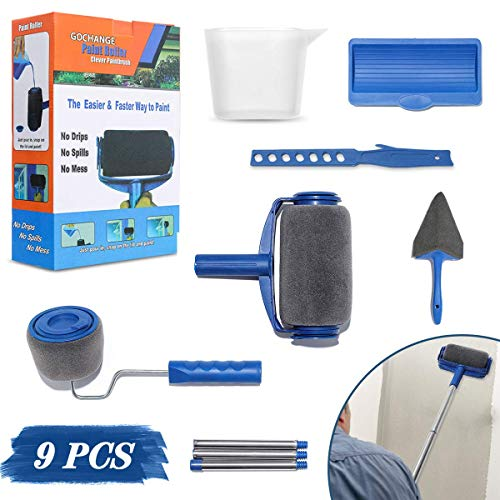 9Pcs Paint Roller Set, LIUMY Paint Runner Kit with 3 Knots Extension Pole,Handle Tool Painting Brush Set for House Wall,School & Office Wall, Ceiling,Quickly Decorate in Just Minutes…