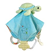 Stephan Baby Go Fish Plush Chewbie Activity Toy and Teething Blankie, Green Sea Turtle