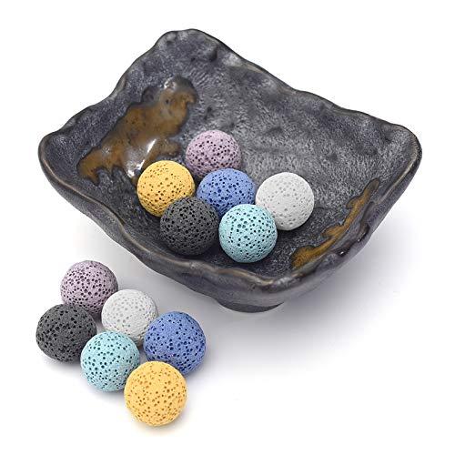 Top Plaza Lava Rock Stone Aromatherapy Essential Oil Diffuser Set Square Ceramic Fragrance Perfume Ware Bowl with 12Pcs Lava Stone Balls