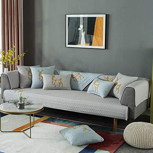 Hybad vidalce Fundas Sofa,Funda de sofá de Tela Linda,Toalla de cojín de sofá Antideslizante Bordada de Ciervo,Funda de sofá de Madera Maciza Universal de Cuatro Estaciones-Light_Grey_110 * 110cm