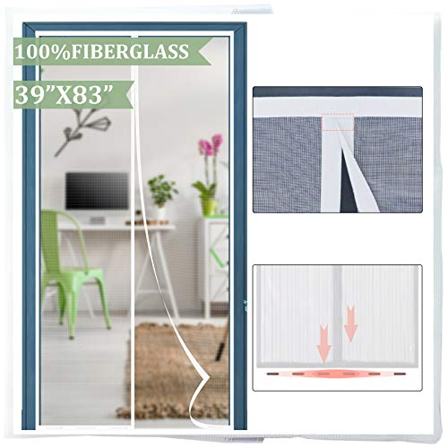 """Reinforced Fiberglass Mesh Screen Door with Magnets, Screen for Door to Keep Bugs Out, Magnet Screen Door Curtain 39"""" x 83"""", White-by Dysome"""