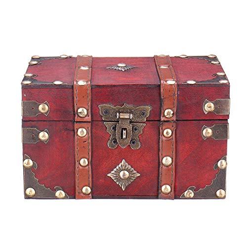 Heqianqian Caja de almacenamiento de madera vintage con cerradura de tesoro perla organizador titular