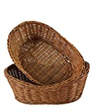 Cesti da portata in vimini per pane, frutta, verdura, per il servizio di ristoranti e come decorazione da tavolo (ovali da 27,9 cm ovali, confezione da 2)