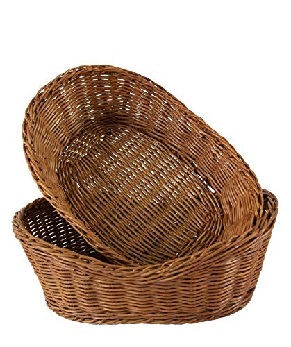 Wicker Woven Serving Baskets for Bread Fruit Vegetables Snacks | Rustic Handmade Restaurant Dining Tabletop Serving Display Decoration Organizer Basket (Curved Oval 28X19 cm 2 Pack)