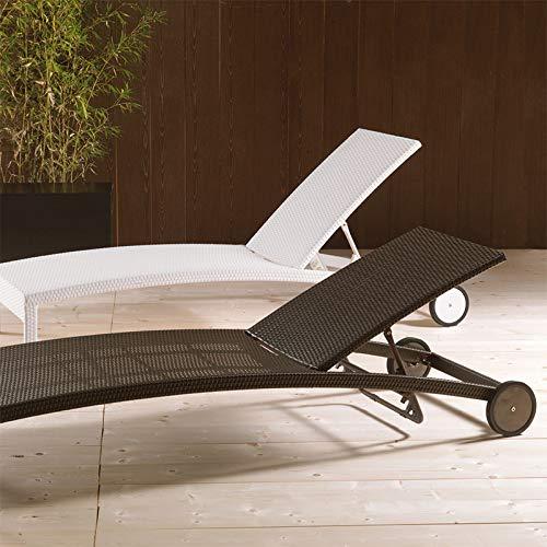 M-029 ligstoel van polyrotan bruin pioenroos L 203 x P 80 cm Wit.