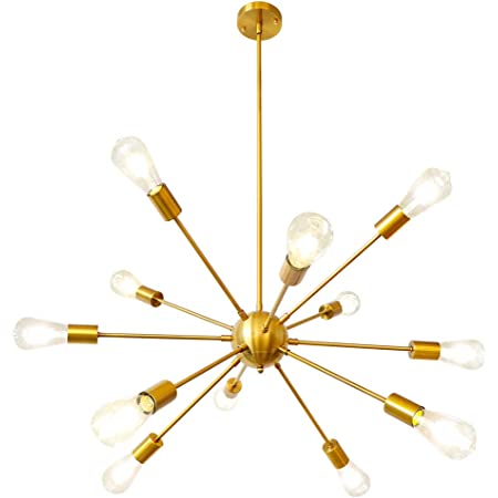 Gold Sputnik Chandelier, LynPon 12 Lights Ceiling Light Fixture Brass Mid Century Chandeliers Modern Industrial Vintage Pendant Light for Dining Room Kitchen Living Room Bedroom