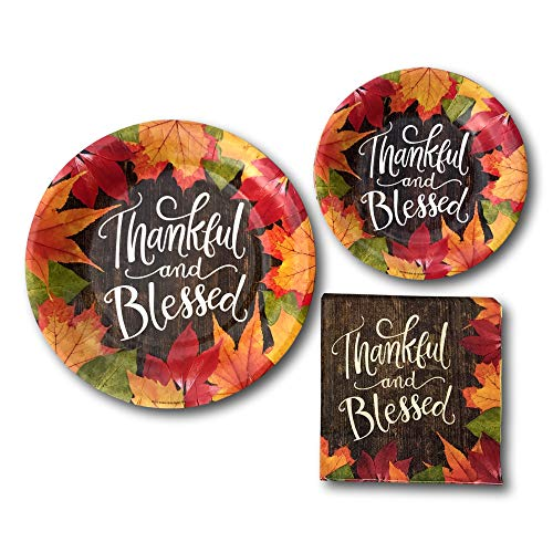 Thanksgiving Thankful And Blessed Paper Plates And Napkins