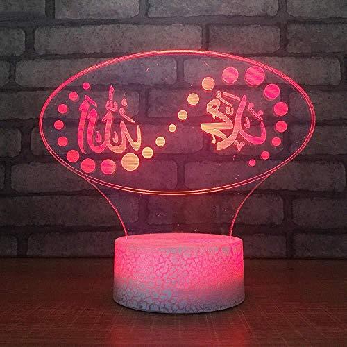 YOUPING Lámpara de ilusión 3D LED Luz de Noche USB Visual Islam Botón Táctil Colorido Dios Allah Bendice Corán Árabe Niños Regalos de Mesa Lámparas de Iluminar