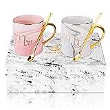 Mr y Mrs taza de café, ANSUG Personalice la taza de mármol de la leche de cerámica de las parejas con la cuchara de café para la boda, aniversario, regalo de los Valentines - 14 onzas (Mr&Mrs)