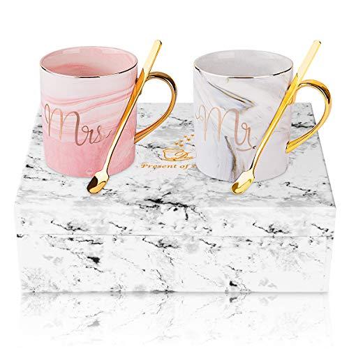 ANSUG Herr und Frau Kaffeetasse, Personalisieren Paare Keramik Kaffee Marmor Tasse mit Kaffeelöffel für Hochzeit, Jubiläum, Valentines Geschenk - 14 Oz (Mr&Mrs)