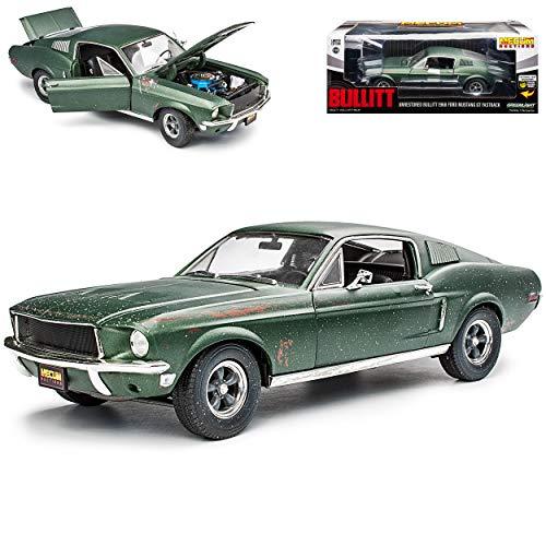 Greenlight Ford Mustang Bullitt Grün Coupe Steve McQueen Unrestored mit Sticker 1968 1/18 Modell Auto mit individiuellem Wunschkennzeichen