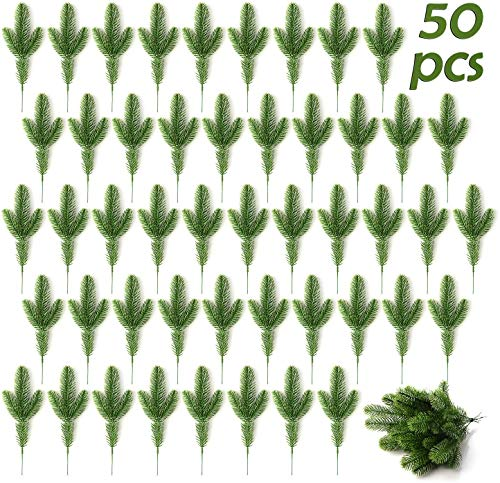 lulalula 50Pcs Artificial Pine Tree Branches Plastic Pine Leaves for Christmas party decoration faux foliage fake flower DIY craft wreath