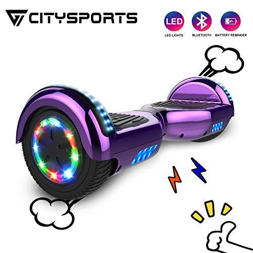 CITYSPORTS Hoverboard 6,5 Zoll Self Balance Scooter Bluetooth, Self-Balance Board Motor 700W mit LED-Blitzrädern, elektrisches Skateboard für Erwachsene