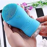 ZTZ Cepillo de limpieza facial eléctrico Sonic Vibration de doble cara, limpiador facial de silicona, masajeador profundo, color rosa