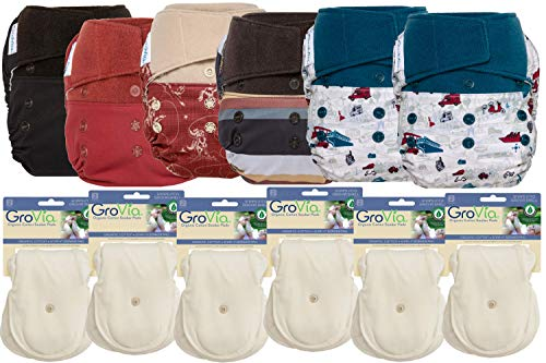 GroVia Hybrid Part Time Package: 6 Shells + 12 Organic Cotton Soaker Pads (Color Mix 6 - Hook & Loop)