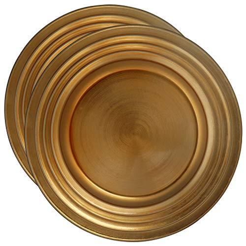 com-four® 2x Platzteller goldfarben - Unterteller als Tischdekoration - Dekoteller für Hochzeit, Familienfeier oder Weihnachten - Ø 33 cm