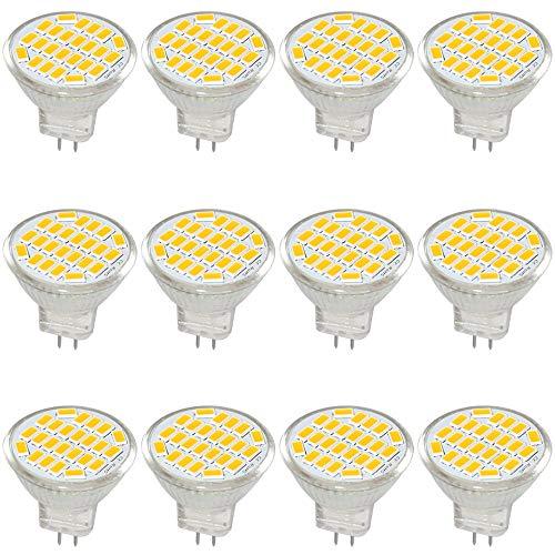 Jenyolon MR11 GU4 LED Lampen Warmweiss 3W AC/DC 12V, 3000K, 400Lm, Ersatz für 30W Halogenlampen Glühlampen, MR11 LED Leuchtmittel klein Birne Spot Licht, 120°Abstrahlwinkel, 12er Pack