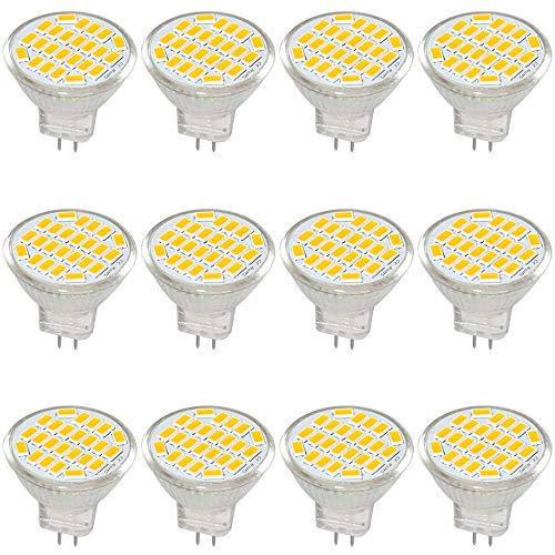 Jenyolon MR11 GU4 LED Lampen Warmweiss 3W AC/DC 12V, 3000K, 400Lm, Ersatz für 30W Halogenlampen Glühlampen, MR11 LED Leuchtmittel klein Birne Spot Licht, 120°Abstrahlwinkel, 12er Pack