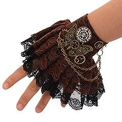 BLESSUME Steampunk Bracelet Gear Victorian Lace Accessories (J) #2