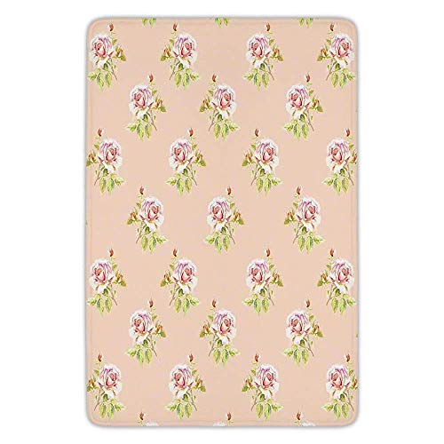 Bathroom Bath Rug Kitchen Floor Mat Carpet,Roses Decorations,Nostalgic Floral Endless Pattern with Pale Colored Flowers Wedding Loved One Print,Pink Green,Flannel Microfiber Non-slip Soft Absorbent