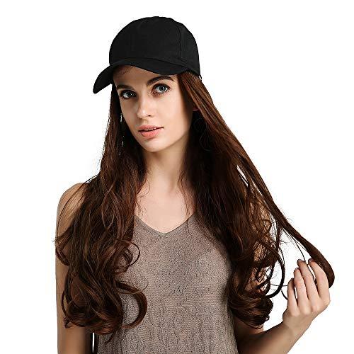 Sexy Lady Volledige Pruiken met hoeden 26 inch Brown wave haar synthetische pruik met zwarte baseballcap Daily Dress for Women